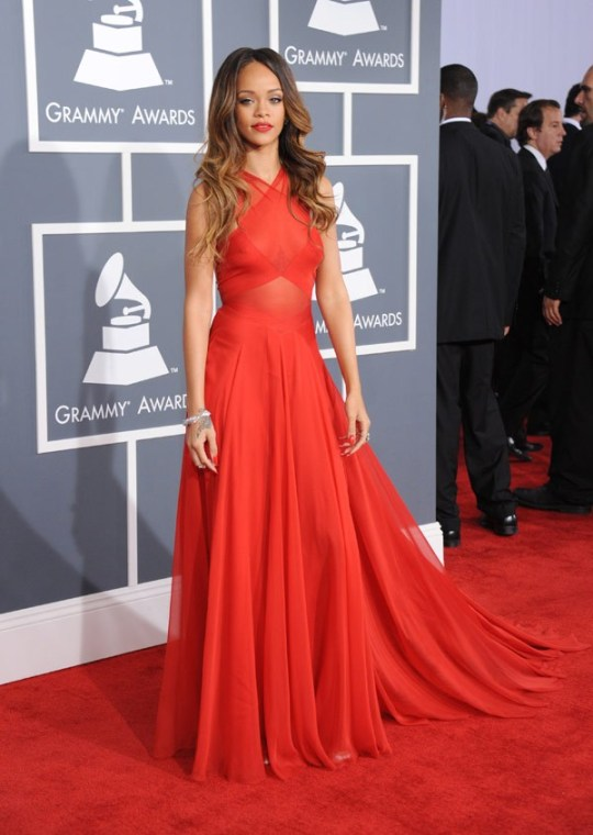 Rihanna Long Red Dress Red Carpet StyleChi