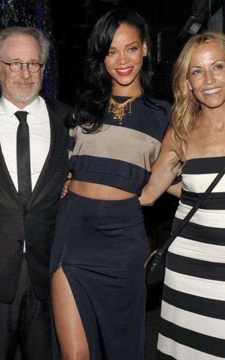 Rihanna Split Skirt Stripey Crop Top StyleChi
