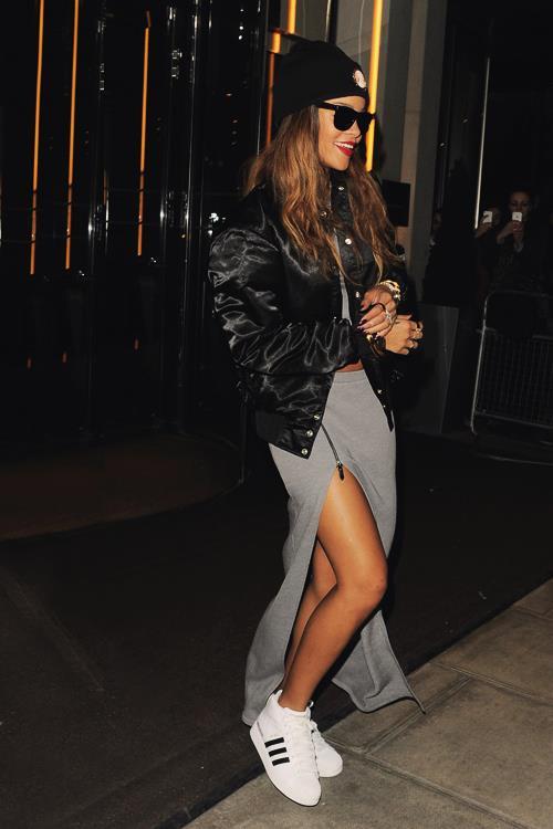 Rihanna Street Split Skirt StyleChi