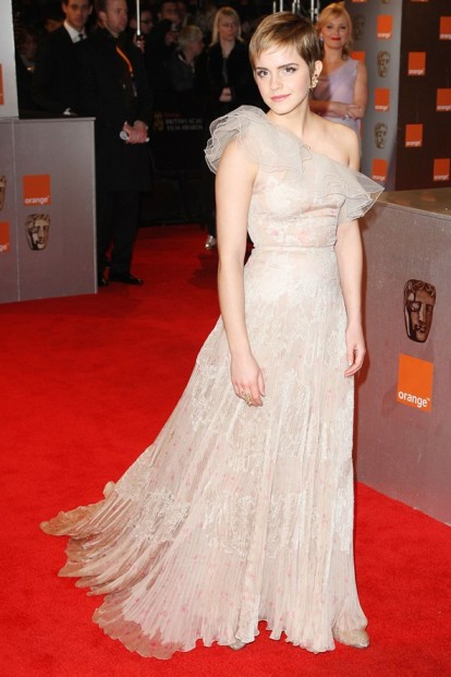 Emma Watson BAFTAs Floral Lace Cream One Shoulder Dress StyleChi