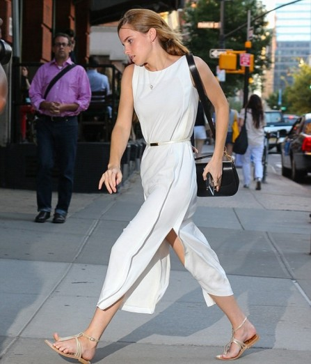 Emma Watson Belted Split White Midi Dress Sandals StyleChi
