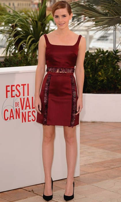 Emma Watson Bling Ring Photo Call Cannes Burgundy Top Skirt StyleChi