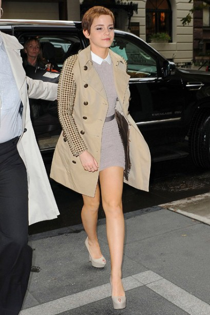 Emma Watson Burberry Studded Trench Coat Grey Knitted Dress Shirt Platform Peeptoes StyleChi