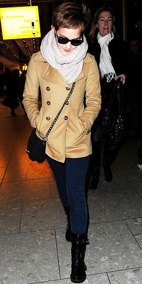 Emma Watson Casual Biker Boots Jeans