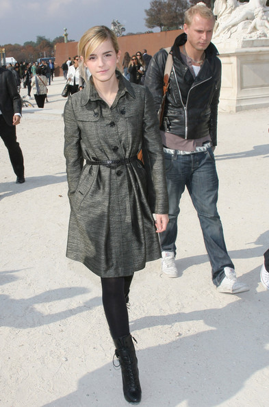 Emma Watson Dior Event Paris Dark Marl Grey Belted Coat StyleChi