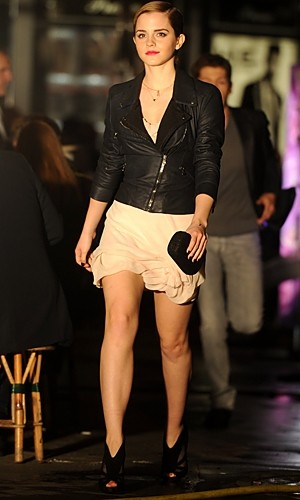Emma Watson Lancome Advert Leather Jacket White Dress Black Shoe Boots StyleChi