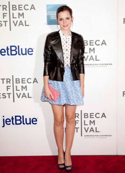 Emma Watson Leather Jacket Floral Outfit Peep Toe Heels Pink Clutch StyleChi