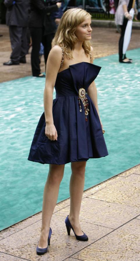 Emma Watson Navy Bustier Dress StyleChi