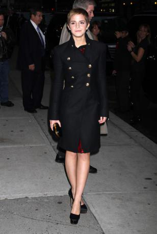 Emma Watson Navy Military Coat Black Platforms StyleChi
