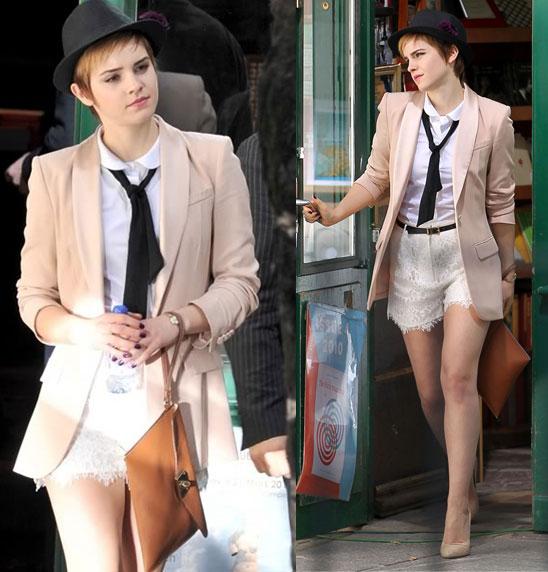 Emma Watson Nude Blazer Shirt Tie Lace Shorts Hat StyleChi