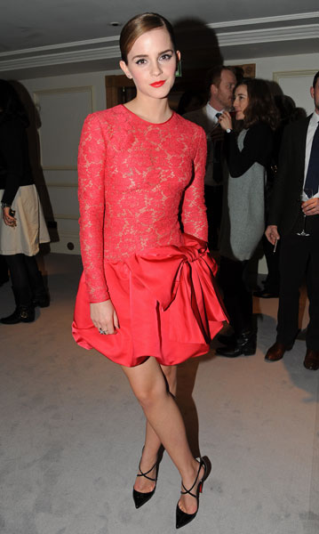 Emma Watson Red Lace Dress StyleChi