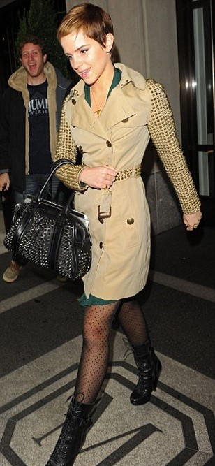 Emma Watson Studded Bag And Trench Coat Heeled Lace Up Bootd StyleChi