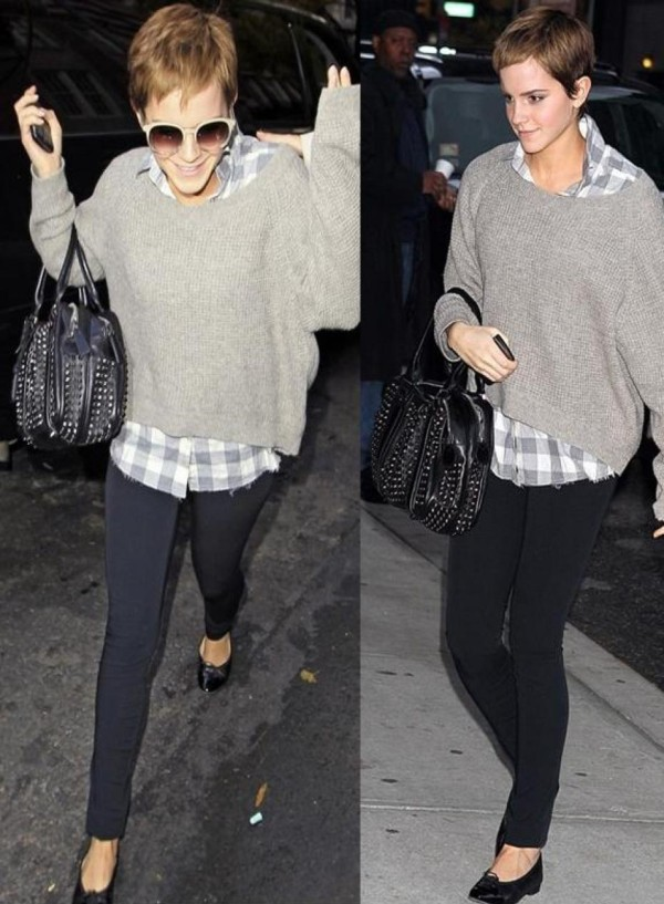 Emma Watson Studded Bag Black Jeans Ballerinas Loose Grey Jumper Checkered Shirt StyleChi