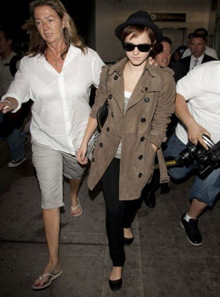 Emma Watson Sunglasses Suede Trench Coat Hat StyleChi