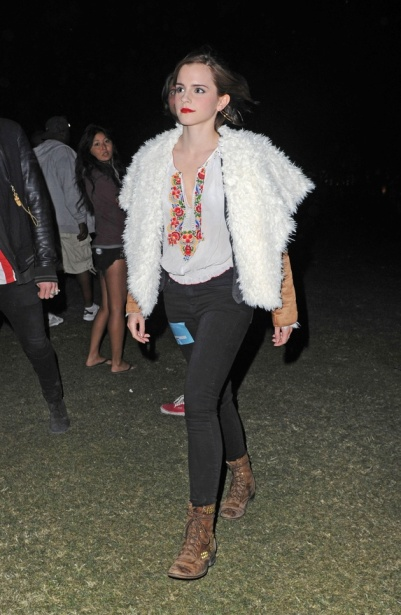 Emma-Watson-wears Johnny Was Coachella Festival Style Sheepskin Waterfall Jacket StyleChi