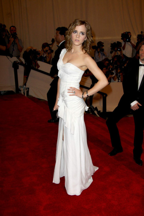Emma Watson White Asymmetric Split Dress Red Carpet StyleChi