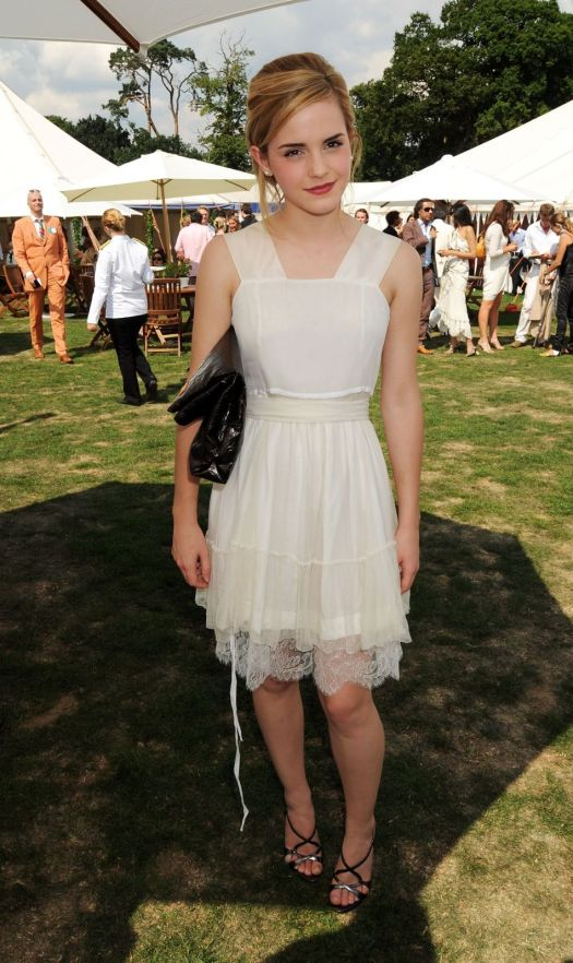 Emma Watson White Dress Lace Hem Summer Look StyleChi