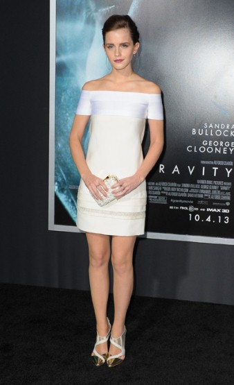 Emma Watson White Dress Metallic Heels StyleCHi