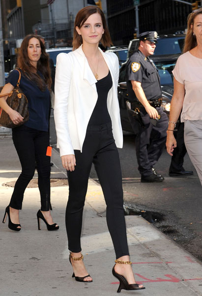 Emma Watson White Jacket Black Top Trousers Chain Heels StyleChi