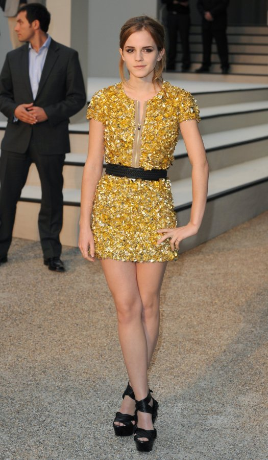 Emma Watson Yellow Gold Dress London Fashion Week 2012 Emma Watson Photo StyleChi