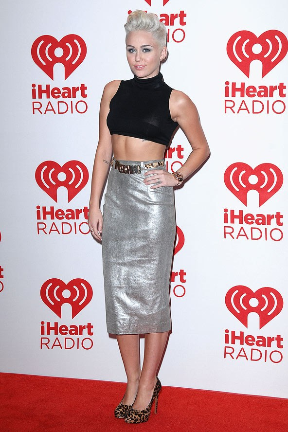 Miley Cyrus 2012 Silver High Waisted Skirt Black Crop Top Moschino Belt Leopard Shoes StyleChi