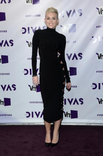 Miley Cyrus 2012 VH1 Divas Black Cut Out High Neck Dress StyleChi