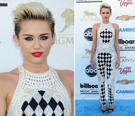 Miley Cyrus Billboard Music Awards Balmain Harlequin Bodysuit StyleChi