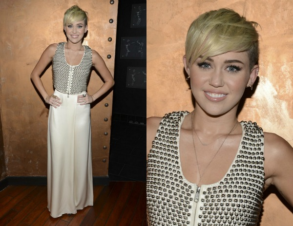 Miley-Cyrus-City-of-Hope-Gala-Temperley-London-Studded-Vest-Cream-wide-led-Pants StyleChi