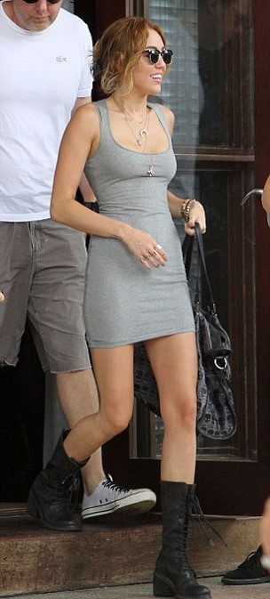 Miley Cyrus Grey Bodycon Dress Black Lace Up Boots StyleChi