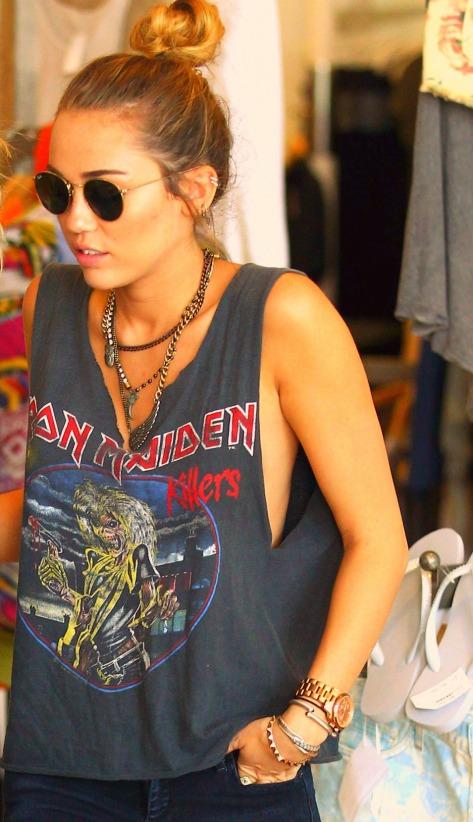 Miley Cyrus Iron Maiden Rock T-Shirt Round Sunglasses StyleChi