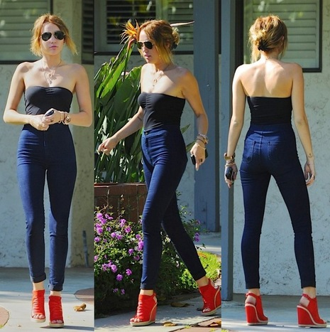 Miley Cyrus Red Wedges Blue Skinnies Black Strapless Top Round Sunglasses StyleChi