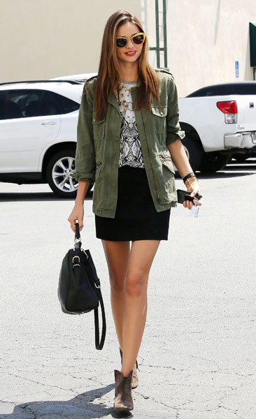Miranda Kerr Army Green Jacket Black Skirt Suede Ankle Boots StyleChi