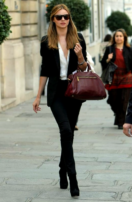 Miranda Kerr Black Blazer And Trousers StyleChi