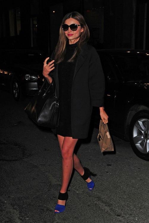 Miranda Kerr Black Dress And Coat Black And Blue Colour Block Heels StyleChi