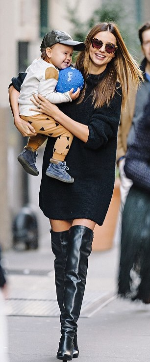 Miranda Kerr Black Knitted Dress Thigh High Boots Son StyleChi