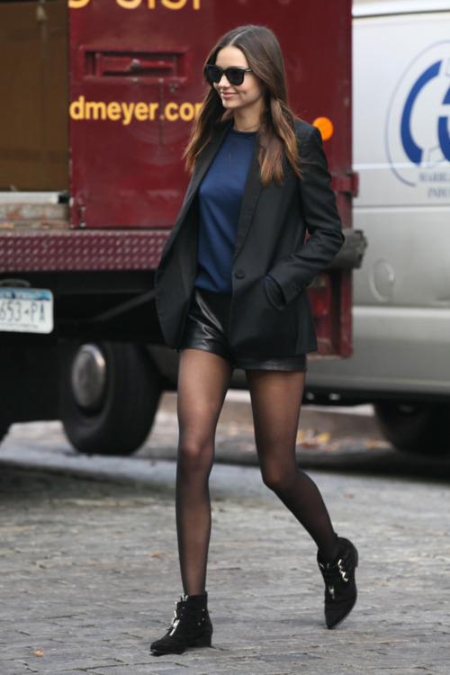 Miranda Kerr Buckled Shoes Leather Shorts Black Blazer StyleChi