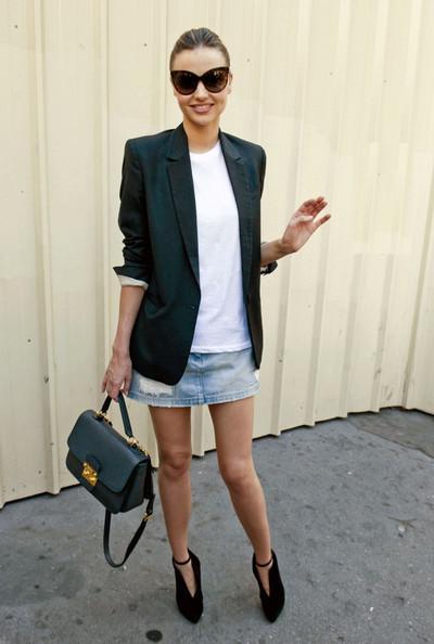 Miranda Kerr Denim Skirt Black Blazer StyleChi