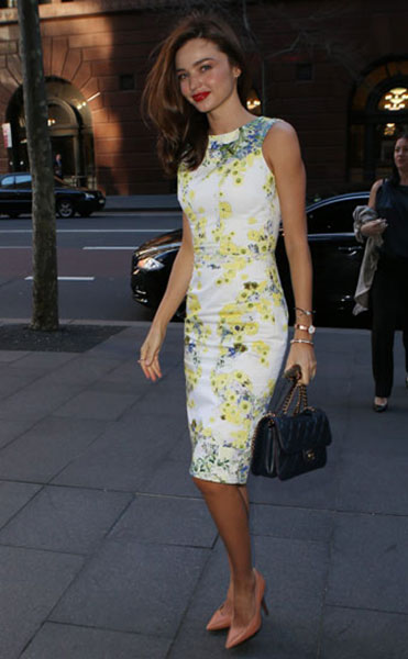 Miranda Kerr Floral Skirt Sydney White Yellow Floral Dress Nude Heels StyleChi