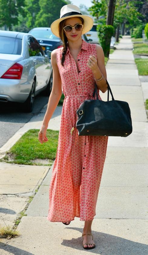 Miranda Kerr Geometric Print Maxi Shirt Dress Straw Hat StyleChi
