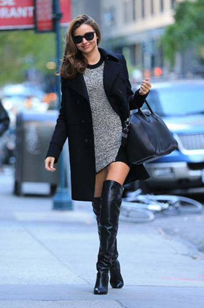 Miranda Kerr Givenchy Coat Grey Knitted Dress Black Thigh High Boots Stylechi