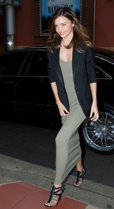 Miranda Kerr Green Maxi Dress Black Blazer StyleChi
