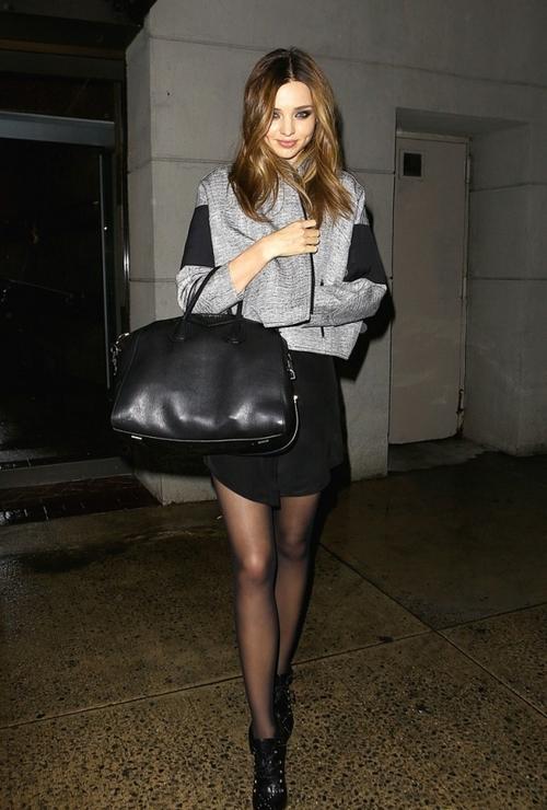 Miranda Kerr Grey Jacket Black Bag And Boots StyleChi