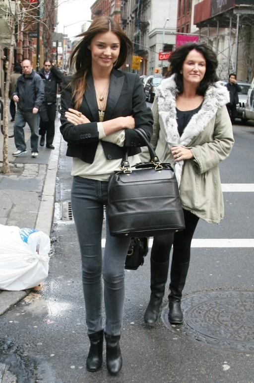 Miranda Kerr Grey Jeans Black Blazer Boots StyleChi