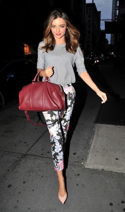 Miranda Kerr Grey T-Shirt Burgundy Bag Floral Trousers StyleChi