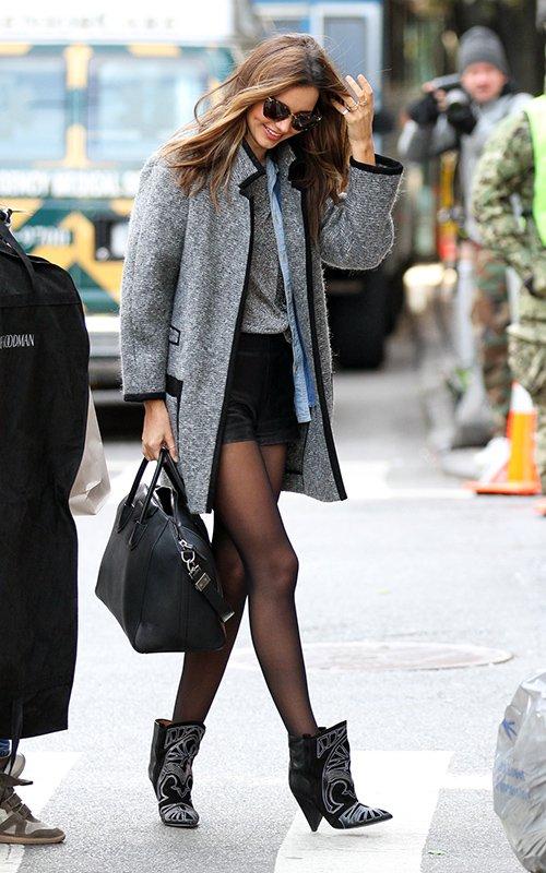Miranda Kerr Isabel Marant Boots Grey Coat Black Shorts StyleChi