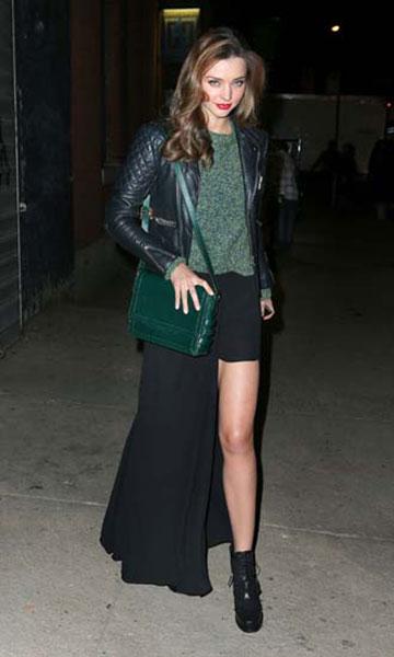 Miranda Kerr Leather Jacket Overlay Skirt Green Bag StyleChi