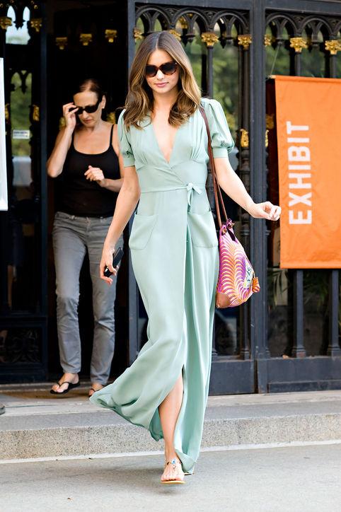 Miranda Kerr Mint Green Maxi Dress StyleChi