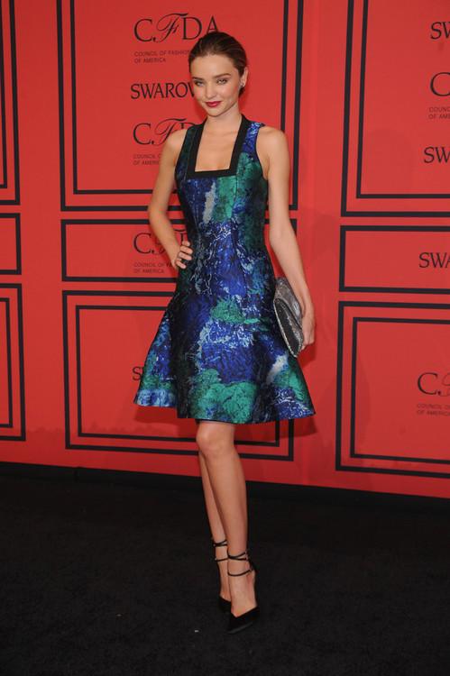 Miranda Kerr Patterned Blue and Green Dress StyleChi