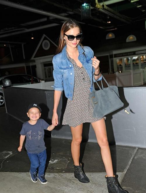 Miranda Kerr Patterned Dress Denim Jacket Ankle Boots Son StyleChi