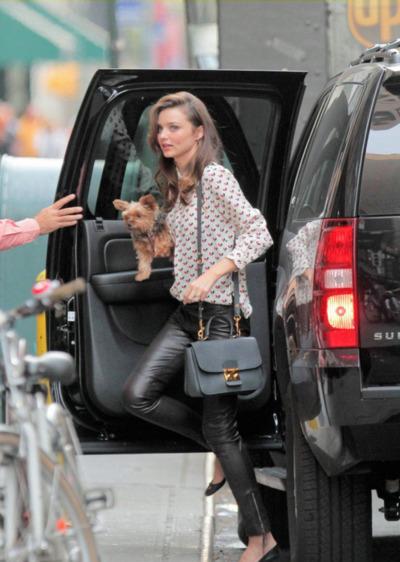 Miranda Kerr Patterned Shirt Zipped Leather Trousers Dog StyleChi